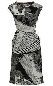 White Stuff Black Cream Paisley Print Shift Tea Dress Tie Back Size 8  to 18