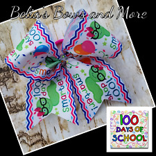 """100 Days of School Cheer style hair bow 7.5"""" wide"""