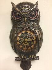 Metallic Bronze Finished Steampunk Owl Pendulum Wall Clock Sculpture Figure