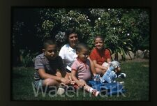 1960s kodachrome photo slide Girl  boys with toy truck