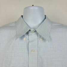 Jos A Bank Traveler Blue Gray White Check Mens Dress Button Shirt Size 18 - 34