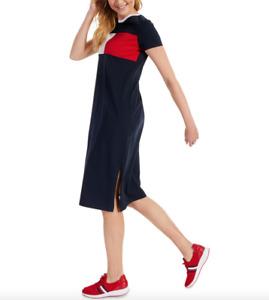 Tommy Hilfiger Women Sky Capitan Logo Midi T-Shirt Dress Size M NWT 59.50$