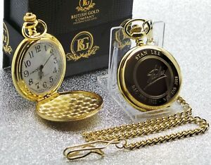 Signed STAN LEE Gold Pocket Watch and Chain LUXURY FULL HUNTER Autographed Comic