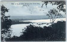 PEORIA, Illinois IL   Birdseye UPPER FREE BRIDGE from Drive Way  1907  Postcard