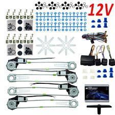 Universal 4 Door Car Van Electric Power Window Conversion Kit Lighted Switch 12V