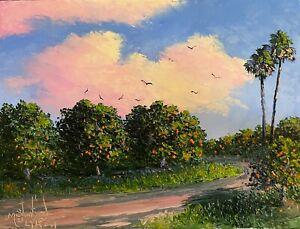 Florida Knife Oil Painting - Orange Grove -  Highwaymen Like Lost Years Art 2.1