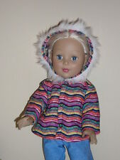 """Wavy Stripes Quilted Winter Coat for 18"""" Doll Clothes American Girl"""