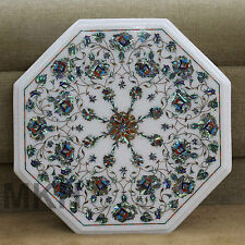 "17"" White Marble Coffee Table Top Pauashell Center Tables Marquetry Decorative"