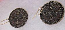 """Scottish Irish Celtic Knot Bird Maltese Cross Copper Metal Disk Earrings 1"""""""