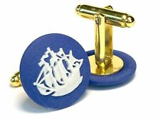 Authentic Wedgwood Jasperware Cameos On Gold Plated Cufflinks 20mm