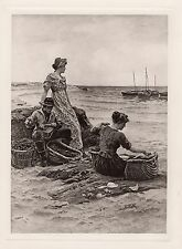 "1800s COLIN HUNTER Antique Maritime Print ""The Baiters on Shore"" Framed COA"