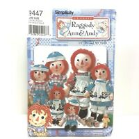 "Simplicity Classic Raggedy Ann and Andy Pattern 9447 15"" 26"" 36"" Dolls Uncut"