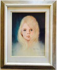 Mid Century RETA WILCOX Original Oil Pastel Portrait PAINTING Blonde Girl SIGNED
