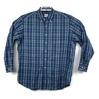 Brooks Brothers Mens Blue Plaid Long Sleeve Button Down Sport Shirt Size Large