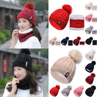 2Pcs Winter Warm Womens Hat Scarves Set Knit Neck Warm Crochet Scarf Beanie Ski