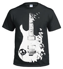 BAND GUITAR BLACK T Shirt/Banksy/Metal/Peace/Music/Crow/Goth/Tattoo/Tee/Gift/Top