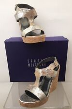 Stuart Weitzman Purity Chrome Cracked Kid Leather Cork Wedge Sandal Alex 9 NEW
