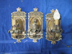 vintage art deco set of 3 sconces