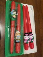 2 Pairs Of Vintage Avon Christmas Taper Candles, 2pr Sealed Unused Snowmen kids