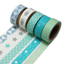 5 Rollen je 10m Washi Masking Tape Basteln Klebeband  Reispapier 0,22 Eur/m 9811