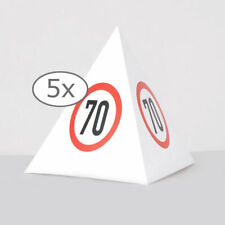 Tischdeko Verkehrsschild-Pyramide 70. Geburtstag 13,5 cm 5er Pack