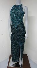 Vintage Turquoise Iridescent SEQUIN SILK Halter Bodycon COCKTAIL PROM GOWN Small
