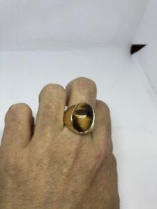 Vintage Golden Stainless Steel Genuine Tiger's Eye Size 10.25 Men's Ring