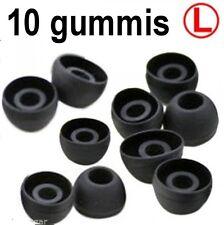 10 Ersatz Gummis für Ear Headsets Kopfhörer Ohrhörer SILIKON SCHWARZ GRÖSSE L