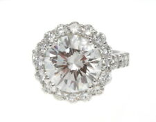 14K WHITE GOLD & ROUND BRILLIANT CUT DIAMOND RING 7.40 CTS. H, VVS2 GIA