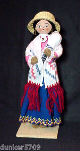 11 1/2 IN TALL CARDBOARD & CLOTH DOLL WITH BABY BOTH IN HISPANIC STYLE STANDING