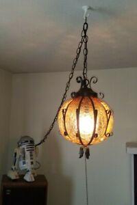 Vintage Antique Mid Century Modern SWAG Hanging Lamp Light Amber Crackle Glass