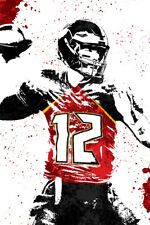Tom Brady Tampa Bay Buccaneers Art Wall Indoor Room Poster - POSTER 24x36