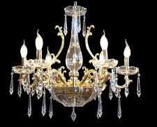 LAMPADARIO CRISTALLO E FUSIONE DI OTTONE 6 LUCI COLL. BGA 1410 DESIGN SWAROVSKY