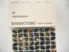 18 swarovski large barrel shape faceted crystal beads,15x10mm jet AB #5200