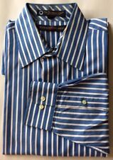 Tommy Hilfiger Men Dress Shirt Blue White Striped TLC 15 32-33 Cotton L/S