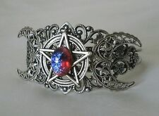 Dragons Breath Fire Opal Triple Moon Pentacle Bracelet, wiccan pagan witchcraft