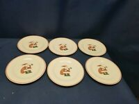 Vintage Santa Claus Christmas China Set/6 Dessert/Salad Plates Red Trim.