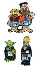 Cartoon Masonic Tie Pins Yoda, Homer, Fred and Barney