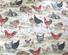 Classic Cottons fabric FARM chicken brown eggs field BTHY half yard cut Rooster