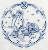 DELFT BLUE NATIVITY-  EMBROIDERED  QUILT BLOCKS
