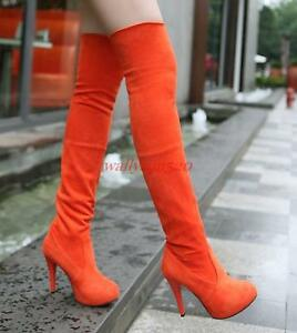 Sexy Womens faux suede shoes slim thigh high stilettos heel over the knee boots