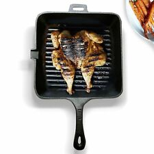 Homiu Cast Iron Griddle Pan Square Non-Stick Grill Pan for Gas / Induction