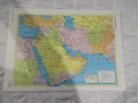 1958 Map of The Near and Middle East - Map of Israel & Jordan On Reverse