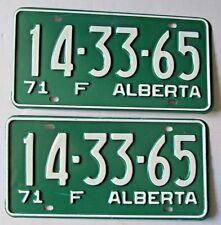 Alberta 1971 FARM License Plate PAIR - SUPERB QUALITY # 14-33-65