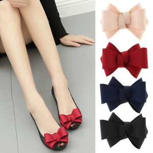 Simple Plain Ribbon Bow Butterfly High Heel Shoe Clips Charms Bowknot Decoration
