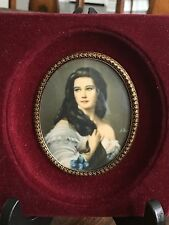 Signed Miniature Portrait of a Young Woman
