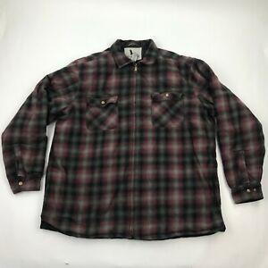 Field & Stream Men Maroon Plaid Zip Up Long Sleeve Insulated Shirt sz 2XL