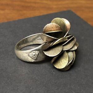 Silpada Sterling Silver Size 8 Copper & Brass Cha Cha Ring R1968 Heavy 18.87g