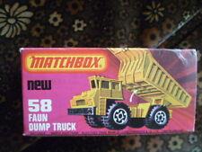 """Boîte vide MATCHBOX n° 58 """" Faun Dump truck """" complète - Très bel état"""
