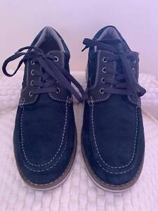 Stacy Adams Mens Navy Suede Leather Boat Shoes | Lace Up | Size US 10.5 | EUR 44